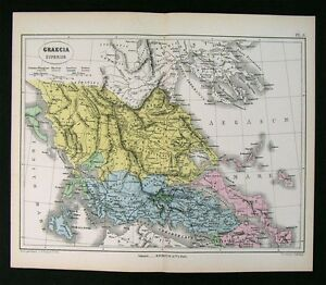 1872 Vuillemin Map Ancient Greece Superior Thessaly