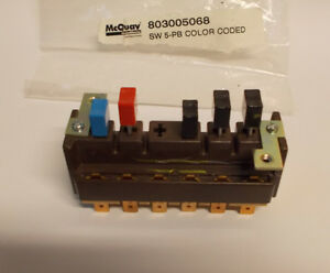 Mcquay 803005068 Switch 5 push Button Color Coded