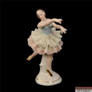 Dresden Porcelain Black Haired Ballerina Figurine Blue White And Pink Dress Rose