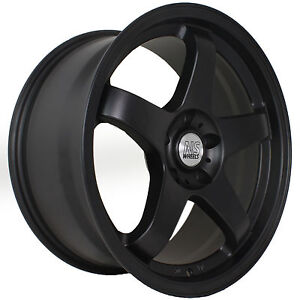 18 Ns Nsm01 15 Flat Black Staggered Rims Wheels Concave 5x114 3 Fits Nissan 350z