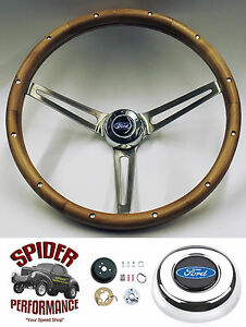 1965 1969 Fairlane Ranchero Galaxie 500 Steering Wheel Blue Oval 15 Walnut