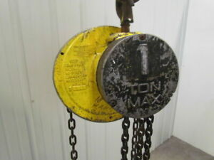 Cm Columbus Mckinnon 1 Ton Manual Chain Fall Hoist 19 Lift 2000lb Capacity