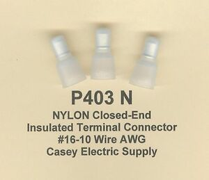50 Nylon Insulated Closed End Terminal Connectors 16 10 Wire Gauge Awg Usa