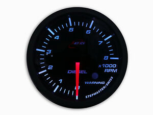 60mm Diesel Tachometer Gauge Tacho 0 8000 Rpm Smoked Lens White Led W warning