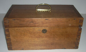 Antique Dovetailed Solid Walnut Hand Made Box With Tray Circa 1900