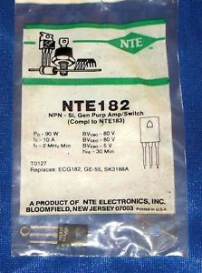 Nte182 Transistor Npn Silicon 70v 10a To 127 Case General Purpose Amp