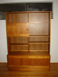 Teak China Cabinet Hutch Bookshelf Credenza Mcm Shelves Cupboard Storage Denmark