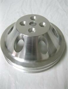Small Block Chevy Swp Aluminum 2 Double Groove Upper Water Pump Pulley Sbc