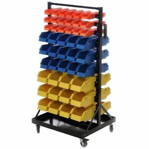 Industrial 90 Bin Small Parts Tool Storage Shelf Cabinets Tools Rack Warehouse