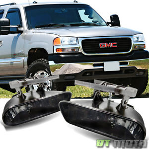Smoked 99 06 Gmc Sierra Yukon Bumper Fog Lights Lamps Replacement Left Right
