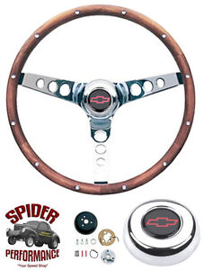 1970 88 Monte Carlo Monza Vega Steering Wheel Red Bowtie 13 1 2 Classic Walnut