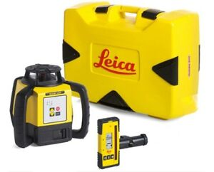 Leica Rugby 620 Alkaline Battery Laser Level With Rod Eye 140 Receiver
