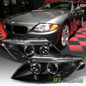 Black 2003 2008 Bmw Z4 Dual Led Halo Projector Headlights Light Lamps Left Right