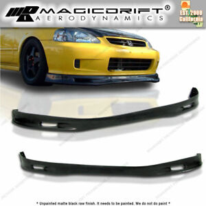 New Spn Spoon Front Bumper Lip Urethane Plastic For All 99 00 Honda Civic Ek