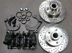 Mustang Ii 2 Front 11 Drilled Rotor Upgrade Disc Brake Kit Chevy No Spindle