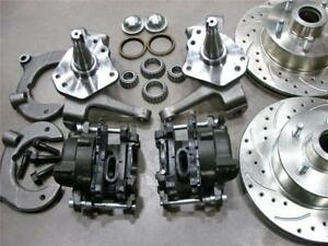 Mustang Ii Front 11 Drilled Slotted Chevy Rotors Disc Brake Kit 2 Drop Spindle
