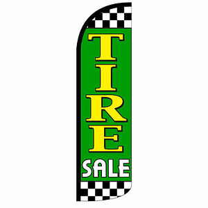 Windless Swooper Feather Flag Tall Banner Sign 3 Wide Tire Sale Green Yellow