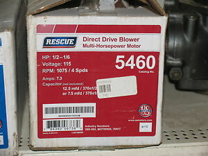 New Emerson Rescue 5460 Multi horsepower Direct Drive Blower Motor 115v