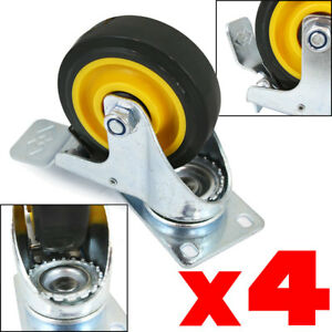 4pc 4 Wheel Swivel Plate Casters With Brake Yellow Polyurethane Pu 1000lbs New