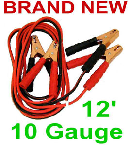 12 Jumper Cables 10 Gauge 200 Amp Battery Booster Cable Car Atv Boat Marine New