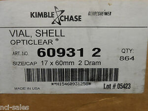 1 Box Of 864 Kimble Vials Shell Opticlear 60931 2 Size cap 17 X 60mm 2 Dram