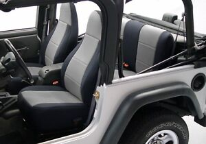 1991 1995 Jeep Wrangler Custom Neoprene Front Rear Seat Covers Black Gray