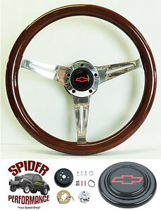 1955 1956 Bel Air 150 210 Nomad Steering Wheel Red Bowtie 14 1 2 Mahogany