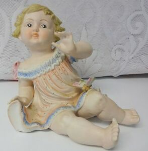 Antique German Bisque Porcelain Piano Baby Girl Butterfly Huge