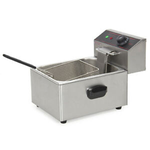2500w Electric Deep Fryer W Easy Control Switch Removable Tank Basket Lid