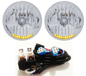 7 H4 10 Led Dual Function Turn Signal Park Headlights W Relay Harness 1