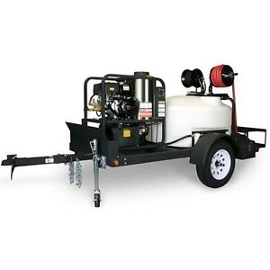 Hot Water Pressure Washer Trailer Gas 3500 Psi 3 5 Gpm 12v Dc Belt