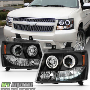 Blk 2007 2014 Chevy Suburban Tahoe Avalanche Led Halo Projector Headlights Lamps