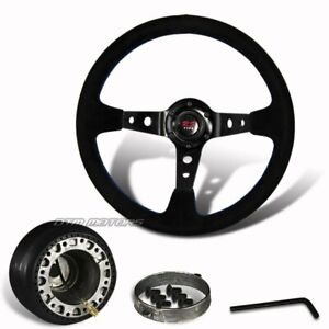 350mm Black Suede Leather Deep Dish Style Steering Wheel Hub For Del Sol Civic