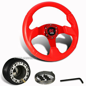 320mm Red Pvc Leather Jdm Racing Steering Wheel Hub For Del Sol Integra Civic