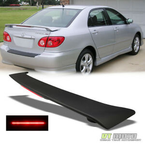 Matte Black Rear Trunk Spoiler W Led Brake For 2003 2008 Toyota Corolla Ce Le S
