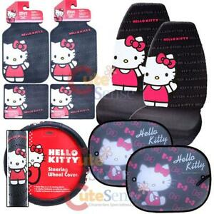 Hello Kitty Core Car Seat Covers Accessories Complete 10pc Set W Full Sunshade