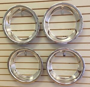 15 3 Chevy Bowtie Chrome Stainless Steel Trim Ring Set 15x8 15x10 Rally Wheels