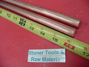 2 Pieces 1 2 C110 Copper Round Rod 16 Long H04 Solid Cu New Lathe Bar Stock 5