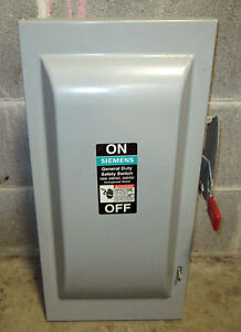 O Siemens 100 Amp Safety Switch Disconnect Gnf323 240 Vac Nf