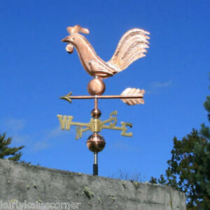 Folk Art Copper Rooster Weathervane Made In Usa 222