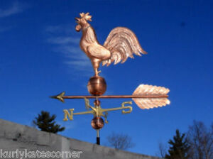 Massive Copper Rooster Weathervane Made In Usa 370