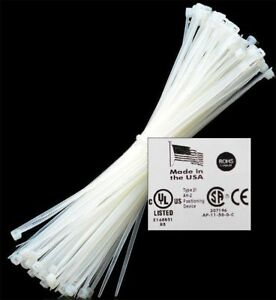8 To 18 50 1000 Usa Industrial White Wire Cable Zip Ties Nylon Tie Wraps