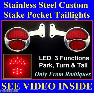 Red Led Custom Stainless Steel Taillights Pickup Truck Hot Rod Chevy Gmc