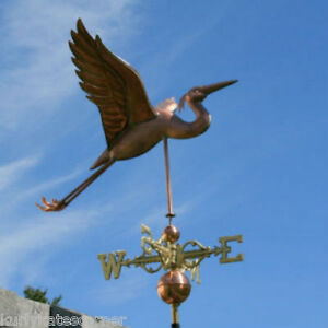 Copper Heron Weathervane With Copper Balls And Brass Directionals 302s
