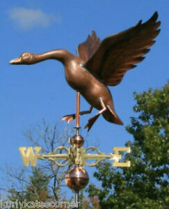 Large Copper Goose Weathervane With Copper Balls And Brass Directionals 155