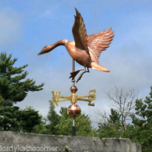 Copper Landing Goose Weathervane With Copper Balls And Brass Directionals 189