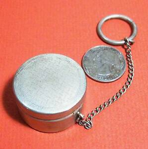 Sheffield Silver W Hallmark Round Box W Cover Chain Ring Chatelaine N5