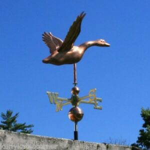Copper Goose Weathervane With Copper Balls And Brass Directionals 215