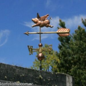Adorable Flying Copper Pig With Arrow Weathervane Made In Usa 147