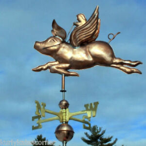 Wonderful Flying Pig W Rider Weathervane Made In Usa 398